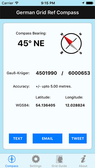 German Grid Ref Compass iPhone App image 1