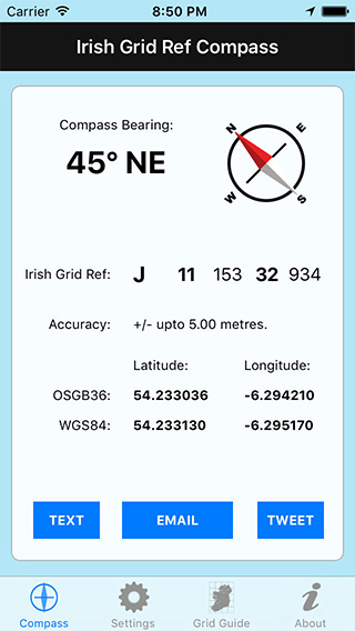Irish Grid Ref Compass iPhone App image 1