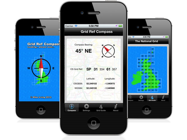 GB Grid Ref Compass - app preview shots