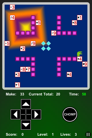 Math Chomp for iPhone - in game screen shot