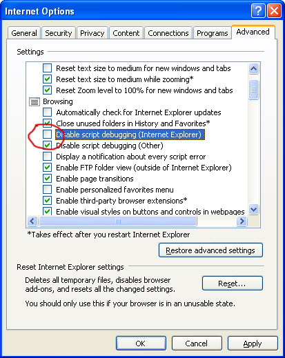 Disabling Script Debugging in Internet Explorer