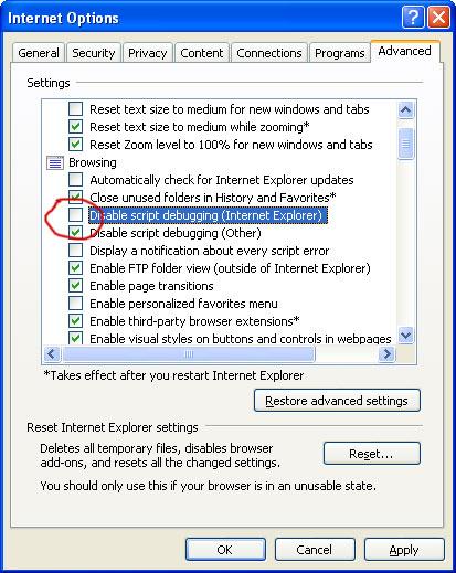 Disabling Script Debugging in Internet Explorer