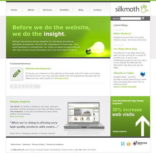 The Silkmoth Website, powered by Kentico CMS.