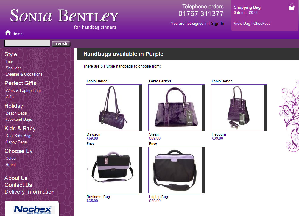 Screenshot of the Sonja Bentley Handbags website