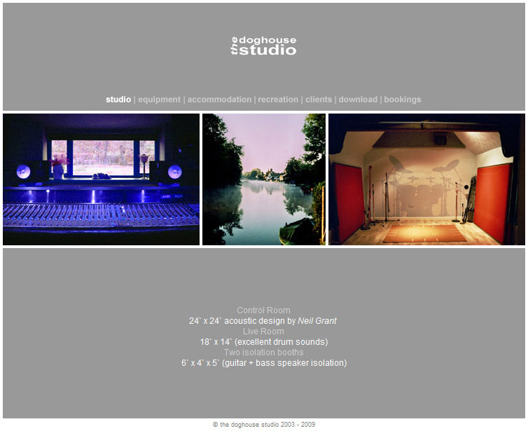 Screenshot of The Doghouse Studio website