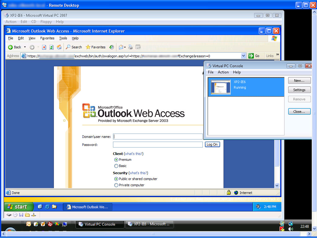 Screenshot: VPN, Remote Desktop, Virtual PC, Outlook Web Access - in action