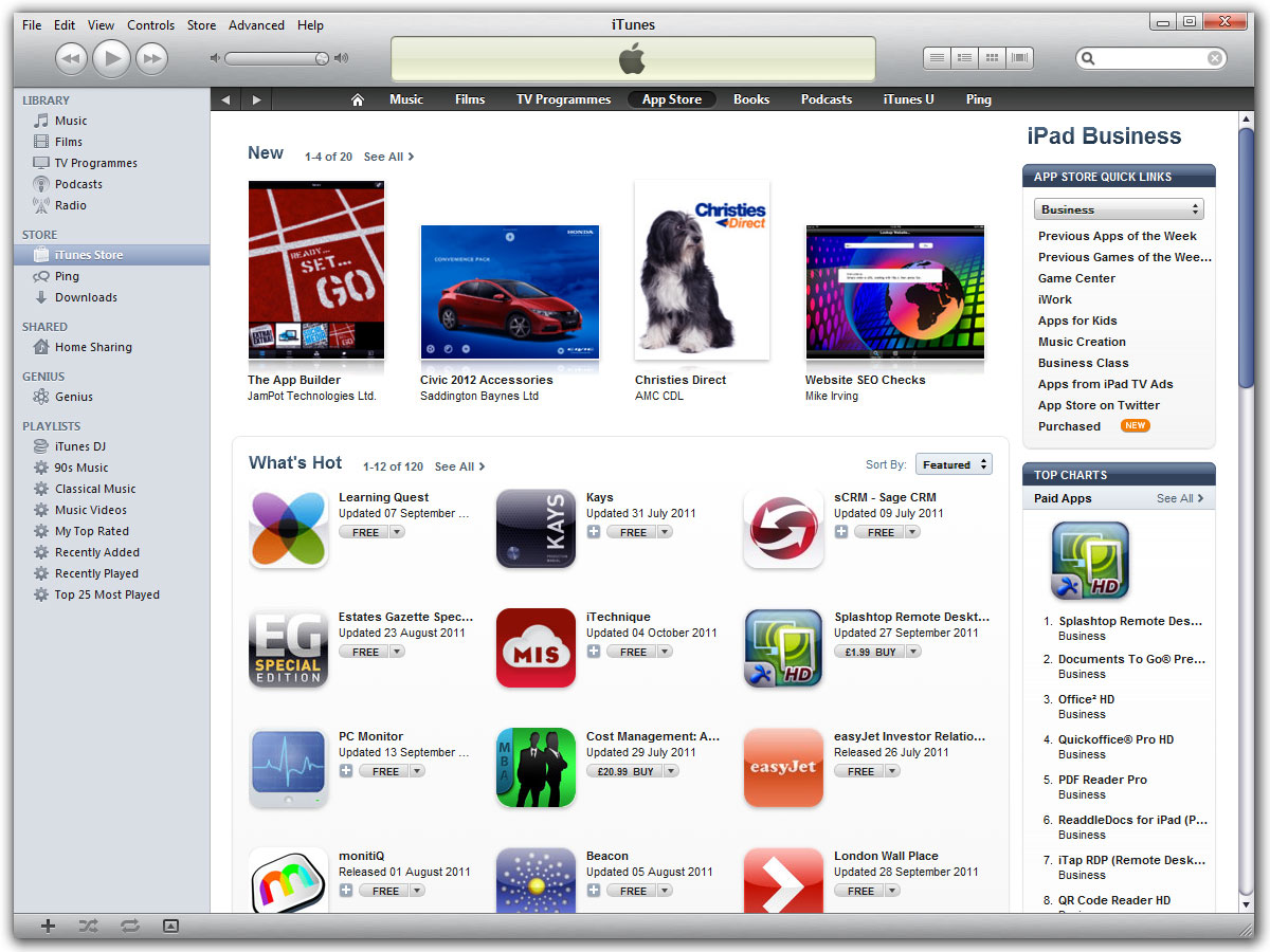 Featured in iPad Business Apps in iTunes