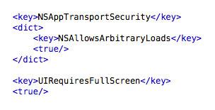 iOS 9 plist settings